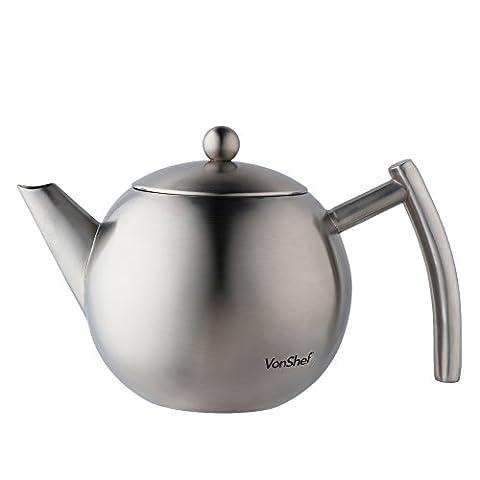 VonShef Medium 700ml Satin Polish Stainless Steel Tea Pot with Infuser