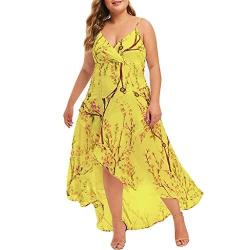 Damen Festliche elegant Kleid Plus Size Damen Knielang Retro V-Ausschnitt Höhe Taille Nackenträger Strandkleid ()