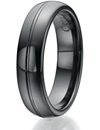 6mm schwarze Keramik-Ring mit eingravierten Linie