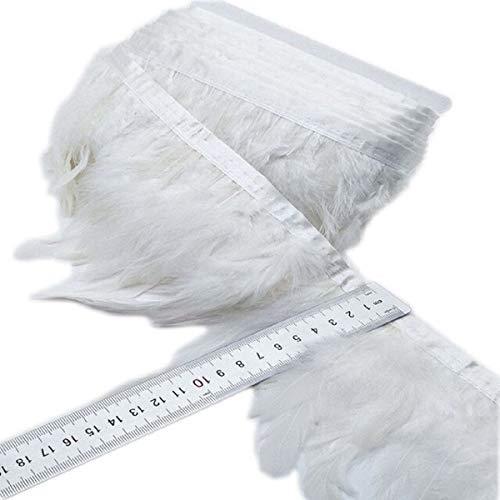 Yalulu 2 Meter Simulierte Feder Fringe Trim Federborte Fransen mit Satinband Tape für Kleid Nähen Handwerk Kostüme DIY Dekoration (#17)