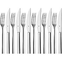 WMF Nuova Steakbesteck, Set 12-teilig, Steakgabel, Steakmesser, für 6 Personen, Cromargan Edelstahl poliert, spülmaschinengeeignet