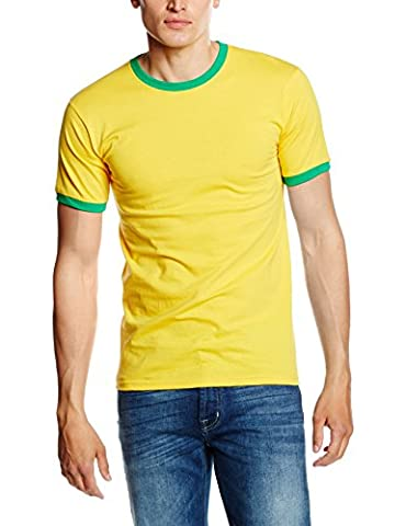 Fruit of the Loom SS040M, T-Shirt Homme, Yellow (Sunflower Yellow/Kelly Green), XL