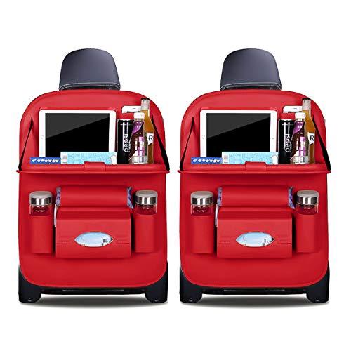Ergocar Auto Organizer Rückenlehnenschutz Luxus Autositzschutz aus PU-Leder mit faltbarem Tablethalter wasserdicht Rückenlehnenschutz Rückenlehnen-Tasche für Kinder (Rot - 2 Pack)