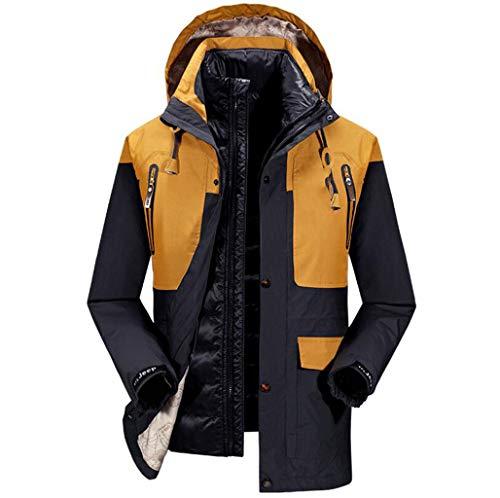 Winter Mens 2 in 1 Wasserdichte Jacke Atmungsaktivem Mantel Taped Nähte Regenmantel mit Kapuze, Abnehmbare Innere Softshell Fleece Regenjacke Zweiteilige Set für Reisen ( Farbe : Gelb , größe : L ) Innere Softshell