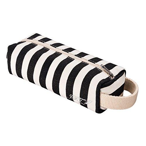 JFT black & white streifen leinwand zylindrische mäppchen - premium - qualität reißverschluss bleistift beutel benutzt werden, wie ein bleistift inhaber oder reisen schminkkoffer - modernen design, abwaschbare stoff, erstaunliche geschenk