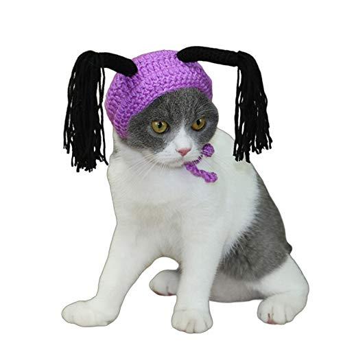 Copricapo per animali domestici Halloween Copricapo per gatti Cappello per animali Set di cerchi per gatti Parrucca divertente Cucciolo Copricapo per animali domestici Cosplay Cosplay Cosplay,Viola,M