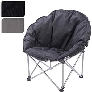 NEW PADDED FOLDING OUTDOOR CAMPING FESTIVAL BEACH GARDEN FISHING MOON CHAIR SEAT (Black)