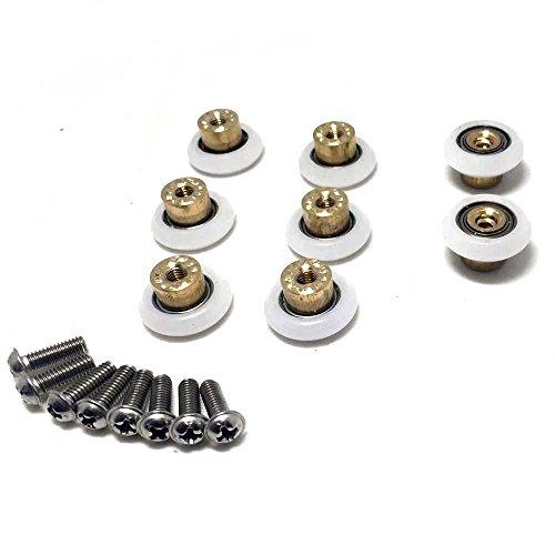 8piezas de 19mm blanco ruedas para rodamientos de puerta corredera ducha habitación baño