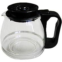 Tecnhogar 00566 - Jarra cónica universal para cafetera con tapa regulable altura, transparente/negro