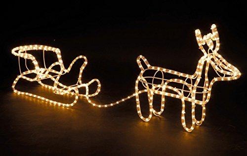 Weihnachten Rentier & Schlitten LED Dekoration Seil aufleuchtend (Dekoration Schlitten Weihnachten)