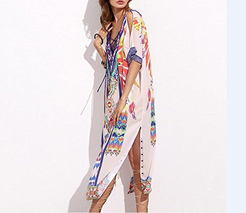 MERCIY Boho Damen Strandponcho Sommer Kleid Überwurf Kaftan Strandkleid Bikini Tunika Cover Up Mischfarbe