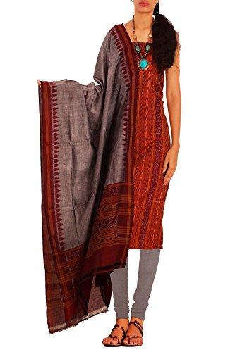 Unnati Silks Women Unstitched maroon-grey Sambalpuri handloom pure cotton salwar kameez dress...