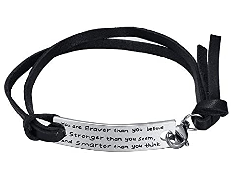 Motivante Cuir Corde Bracelet en acier inoxydable