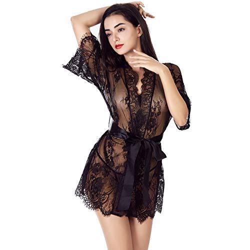 Nachthemd Tüllspitze Pyjama sexy Unterwäsche Set (einschließlich T Hosen) schwarz S