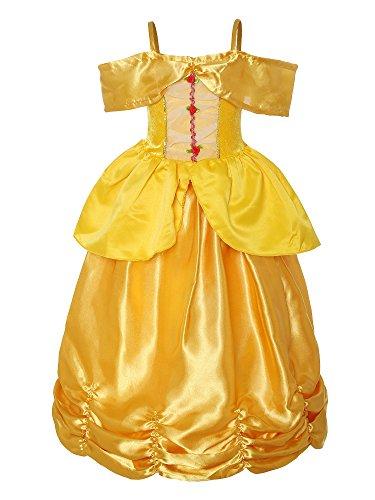 ReliBeauty Mädchen Armlos Prinzessin Kleid Mehrschichtige Falten Kostüme, Gelb, 122