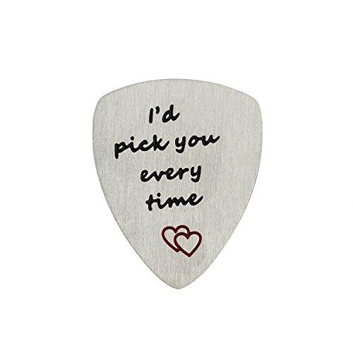bespmosp I 'd Pick You cada vez púa de guitarra, Musical regalo, aniversario, día de San Valentín, regalo para los hombres