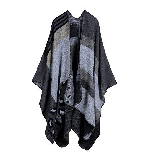 Womens Reversible Oversized Poncho Cape Blanket Shawl Cardigans