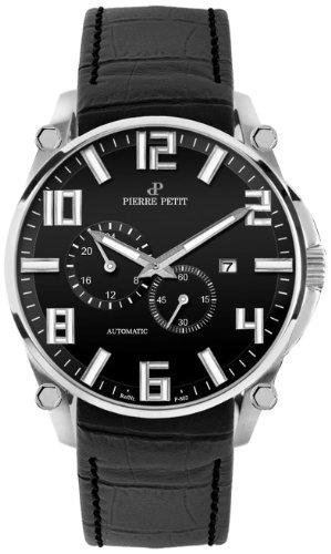Pierre Petit Le Mans P-802A - Reloj analógico automático para hombre, correa de cuero color negro