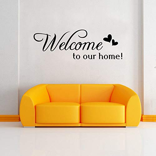 EUFJSDHF Etiqueta De La Pared Welcome To Our Home Quote Wall Stiker Home Decorative Removable vinyl Wall Stickers For Living Room Hotel 58X23CM