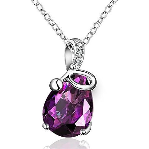 Pendente di cristallo JewelleryClub angelo Teardrop collana placcata argento viola gli elementi di Swarovski per le donne