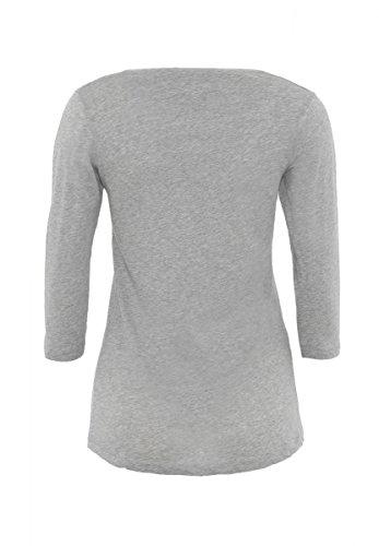 DAILY'S ADANA Damen 3/4 Arm basic Shirt mit Rundhalsausschnitt aus 100% Bio-Baumwolle - soziale fair trade Kleidung, Mode vegan und nachhaltig Color melange-grey, Size S - 2
