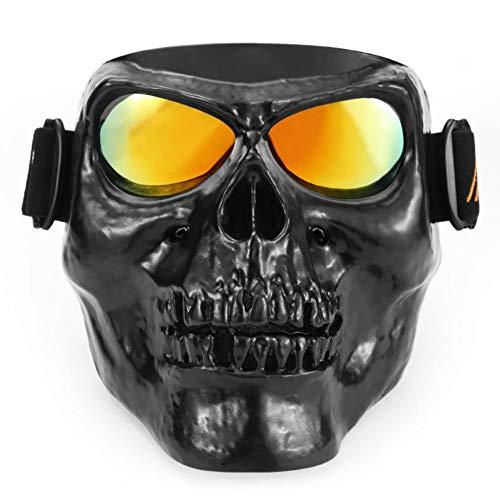 Leezo Mens Motorrad Helme Goggle Maske Totenkopf Vollgesichts ABS Winddicht Goggle Monster Maske für Cosplay Kostüm Halloween Party -
