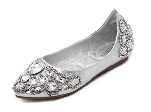 Aisun Damen Strass Low Cut Spitz Flache Schuhe Ballerinas Silber 37 EU tU33h