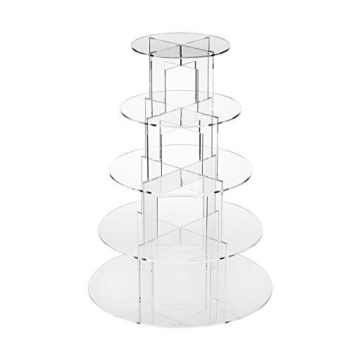 TRIXES Runder Tortenständer mit 5 Etagen aus transparentem Acryl Etagere zur Ausstellung und zum Servieren von Backkunstwerken