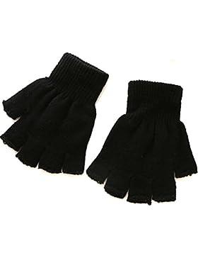 1 par de guantes sin dedos de invierno suaves estiramiento elástico de punto medio dedo calientes negros