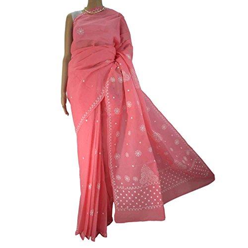 R'ZU Women's Deep Peach with White Cotton Lucknowi Chikankari Saree