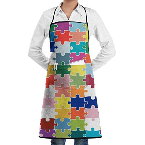 wareness Child Puzzle Adjustable Cooking Kitchen Bib Apron with Pockets for Women Men Chef ()