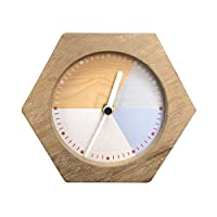 NIKKY HOME Silent Wooden Hexagon Tricolor Table Clock No Ticking for Living Room Bedroom Home Decoration 16.5 x 5 x 14 CM