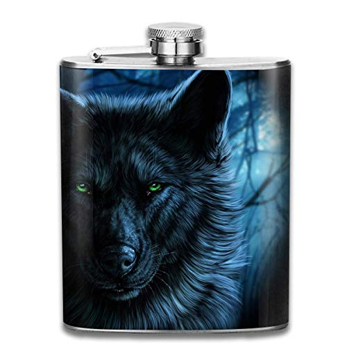 Green Eyed Wolf Stainless Steel Hip Flask 7 OZ - Sneak Alcohol Anywhere for Man,Woman ()