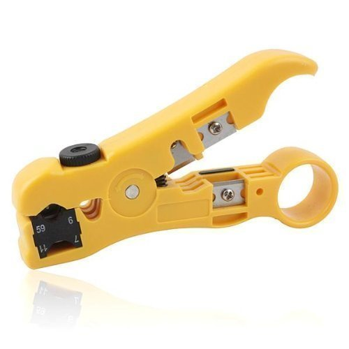 CSTOM Cable Stripper Cutter for Round / Flat UTP Cat5 Cat6 Coax Coaxial Wire Stripping Universal Tool Test