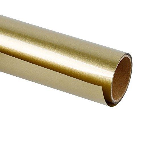 RUSPEPA 30.48Cm Vinile A Trasferimento Termico per Magliette Fai-da-Te, Stampa A Caldo per Indumento Artigianale - Rotolo da 92 Cm (Oro)