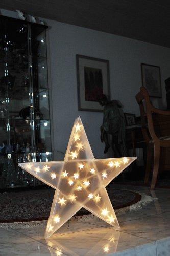 Konstsmide 2592-103 LED Kunststoffstern mit Sterneffekt / für Innen (IP20) / 24V Innentrafo / 20 warm weiße Dioden / transparentes Kabel - 5