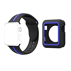 pour Apple Watch Bracelet 38/42mm, Silicone Souple Remplacement Sport Bande pour 38/42mm iWatch Série 3/ Série 2/ Série 1 Tous les modèles (38mm, Black+Blue+a)