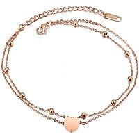 Acero inoxidable Oro rosa elefante pulsera tobillera tobillo pulsera suerte cadena de pie para las mujeres y las niñas cadena ajustable 210mm (corazón amante)