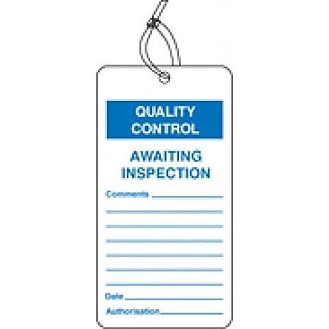 Caledonia signos 59782esperando inspección QC etiqueta (Pack de 10)