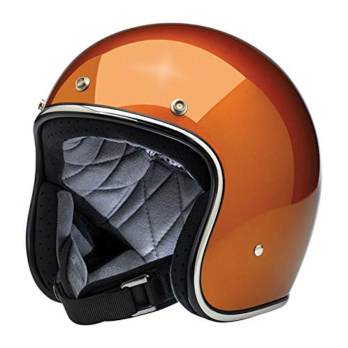 Casco Jet Aperto Bonanza Biltwell Gloss Copper Approvato DOT Helmet Biker Look Stile Universale x Genere Custom Vintage Retrò Anni 70 Off-Road Street Taglia XL