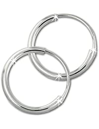 SilberDream Creole Simply mini 12mm aus 925 Sterling Silber, Unisex Ohrring SDO6502