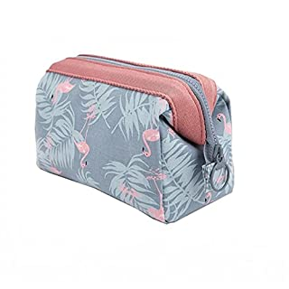 Travel Accessory Organizer Cosmetic Bag , Large Capacity Travel Makeup Pouch for Women Girls, Ladies Cosmetic Bag (Blue Flamingo)