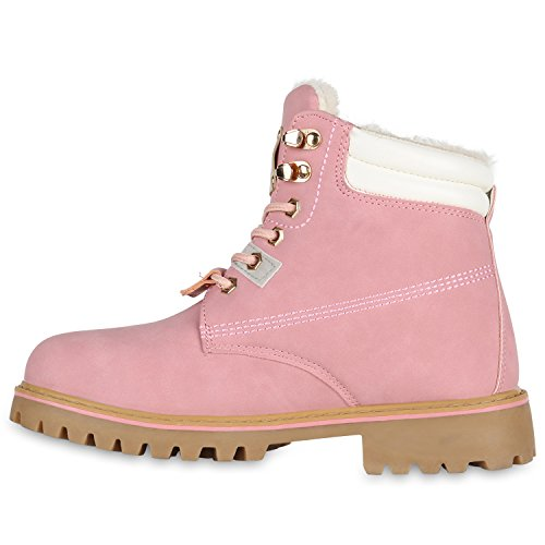 Stiefelparadies Damen Stiefeletten Warm Gefütterte Worker Boots Outdoor Schuhe Flandell Rosa Cabanas