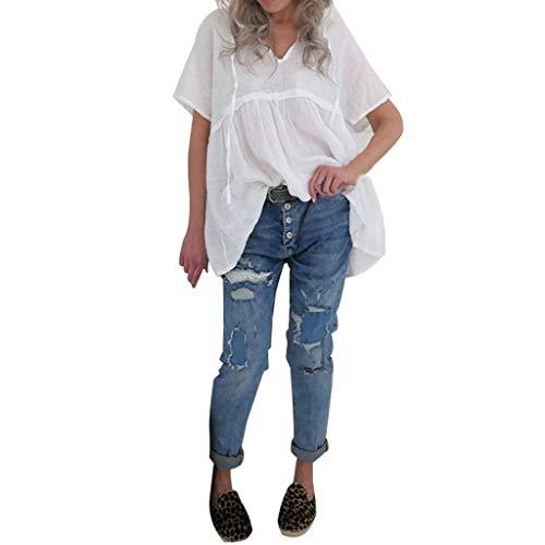Damen Oberteile Frauen Sommer Elegant Beiläufige Feste Kurzarm V-Ansatz Baumwollspitze übersteigt T-Shirt Chic Bluse(Weiß,L4)