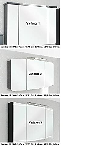 Cassca Pelipal Badmöbel Set 100cm Waschtisch Waschtischunterschrank Spiegelschrank, A036542