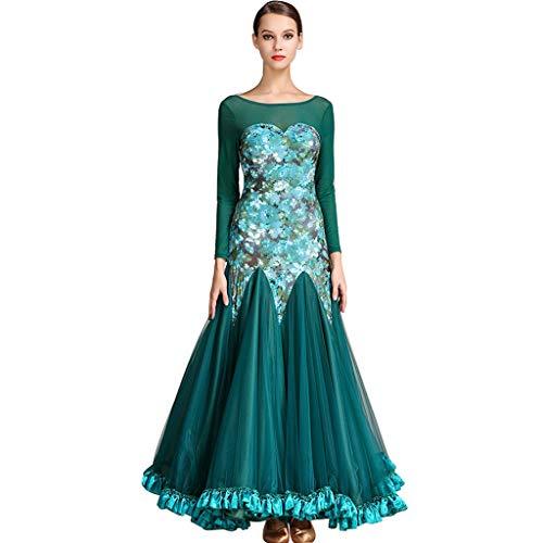 Frauen Modern Ballroom Waltz Dance Dress Large Hem Dance Kostüm Langen Ärmel (Farbe : Dunkelgrün, größe : XL)