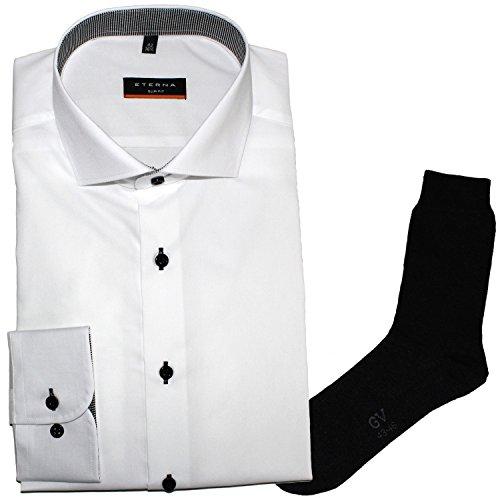 ETERNA Herrenhemd Slim Fit, weiß, Uni Stretch + 1 Paar hochwertige Socken, Bundle Weiß