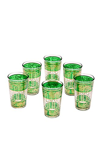 Orientalische verzierte Teegläser Set 6 Gläser lamia Grün Gold | Marokkanische Tee Gläser Set 6 teilig Deko orientalisch | 6 x Orientalisches Marokkanisches Teeglas verziert | Farben auswählen (Gold Tee Gläser)