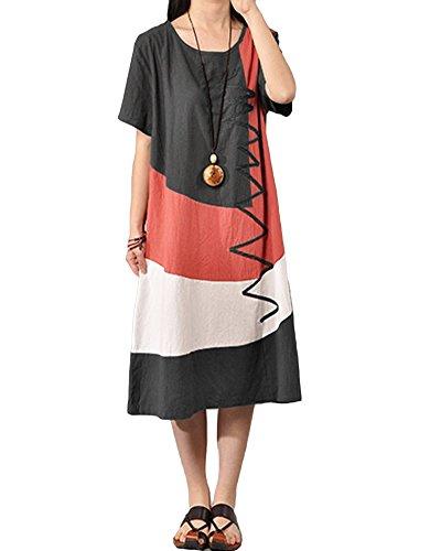 Romacci Damen Lose Midi Kleid Kurzschluss Hülsen Spleiß Kleid Dunkelgrau/Wassermelone-Rot S-5XL
