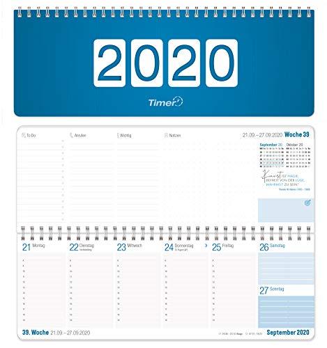 Wochen-Tischkalender 2020 im Quer-Format | 1 Woche 2 Seiten | Wochenkalender in blau/weiß, 29,7 x 10,5 cm | Schreibtisch-Kalender fürs Büro und Zuhause mit vielen Zusatzinfos und Sprüchen